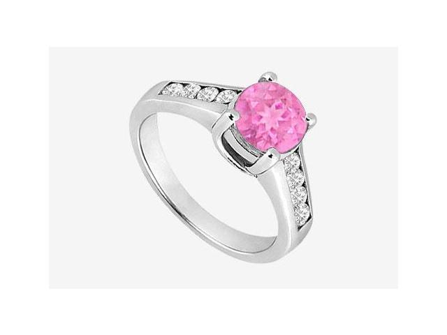Pink Sapphire and Cubic Zirconia Engagement Ring in 14K White Gold 1.40 Carat TGW