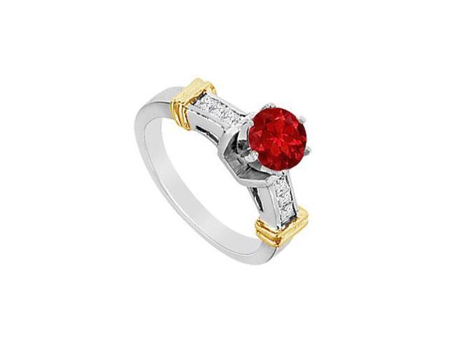 14K Two Tone White and Yellow Gold Channel Set Diamond Engagement Ring with Natural Ruby 1.00 CT