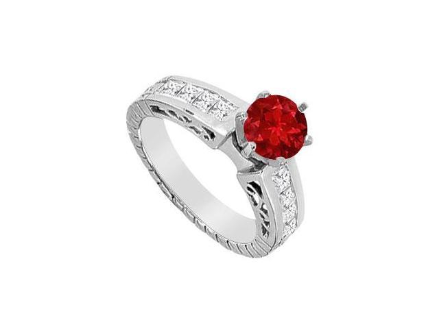 Engagement Ring in 14K White Gold with Princess Cut Diamond and Natural Ruby 1.00 Carat TGW