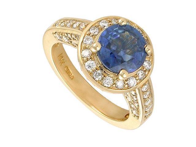Blue Sapphire and Diamond Engagement Ring  14K Yellow Gold - 4.00 CT TGW