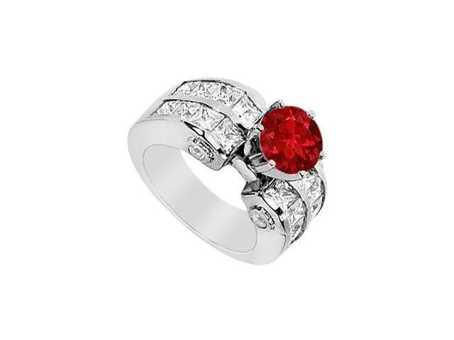Diamond and Natural Ruby Engagement Ring in 14K White Gold 3.65 Carat TGW