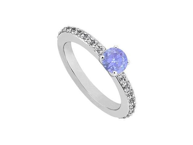 December Birthstone Tanzanite  Diamond Engagement Rings 14K White Gold 0.75 CT TGW