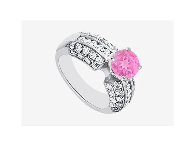 Pink Sapphire and Cubic Zirconia Engagement Ring in 14K White Gold 2.30 Carat TGW