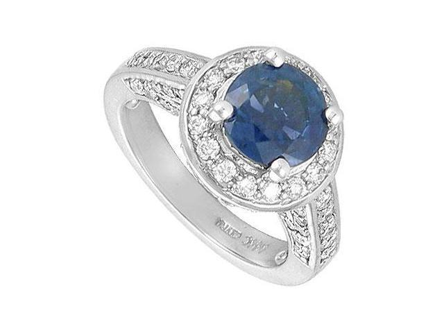 Blue Sapphire and Diamond Engagement Ring  14K White Gold - 4.00 CT TGW
