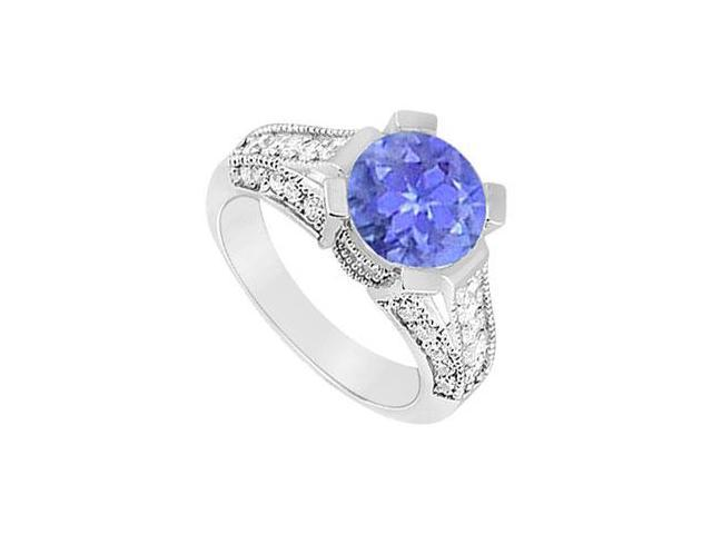 Split Shank Six Prong Set Created Tanzanite and CZ Engagement Ring in 14kt White Gold 1.00.ct.tg