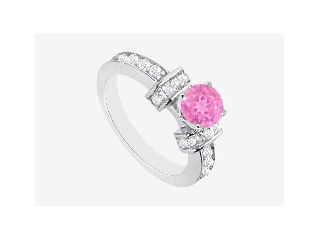Pink Sapphire Engagement Ring with Cubic Zirconia in 14K White Gold 2.10 Carat TGW
