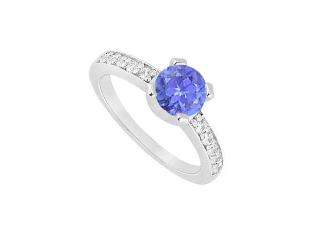 Four Prong Set Created Tanzanite and CZ Engagement Ring in 14kt White Gold 1.00.ct.tgw