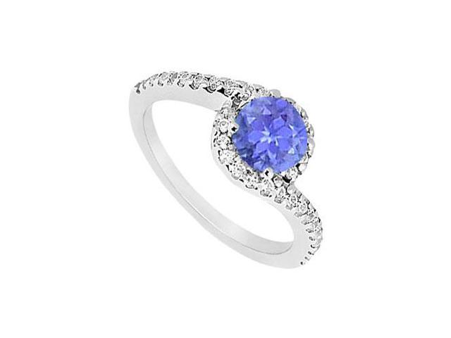 Created Tanzanite and CZ Halo Engagement Ring in 14kt White Gold 1.00.ct.tgw