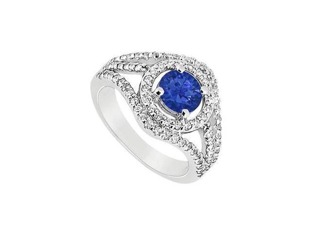 Sapphire and Diamond Engagement Ring  14K White Gold - 1.25 CT TGW