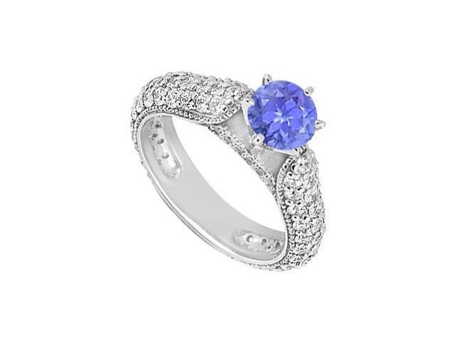 Tanzanite and Diamond Engagement Ring  14K White Gold - 1.50 CT TGW