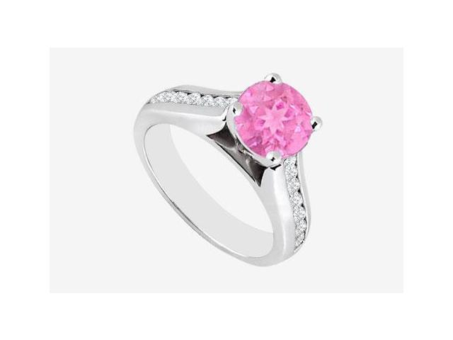 Pink Sapphire with Channel set Cubic Zirconia Engagement Ring in 14K White Gold 2.60 carat TGW