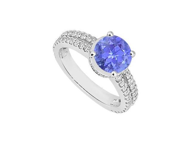 Multirow Created Tanzanite and CZ Engagement Ring in 14kt White Gold 1.00.ct.tgw