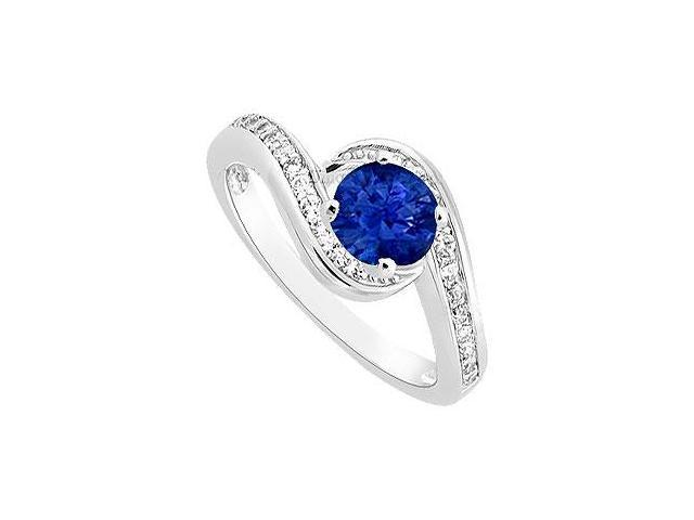 September Birthstone Created Sapphire  CZ Engagement Ring 14K White Gold 0.75.ct.tgw