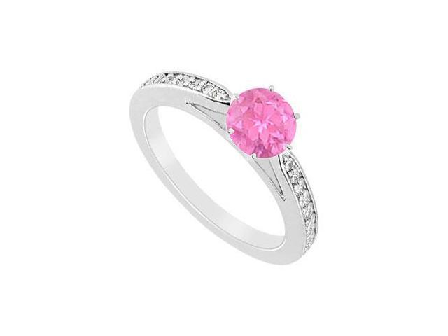 10K White Gold Engagement Ring in Pink Sapphire and CZ with 0.75 carat TGW