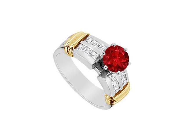 Engagement Ring Natural Ruby with Diamond Princess Cut in 14K White and Yellow Gold 1.10 Carat T