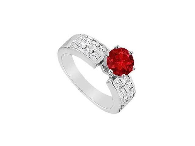 Diamond and Natural Ruby Engagement Ring in 14K White Gold 1.00 Carat TGW