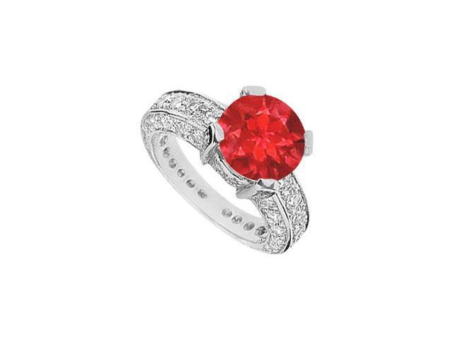 GF Bangkok Ruby and Cubic Zirconia Engagement Ring in 10K white Gold with 5.00 Carats TGW