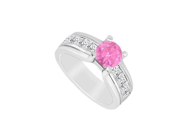1 carat Pink Sapphire with Channel Set Diamond Engagement Ring in 14K White Gold 2.00 CT TGW