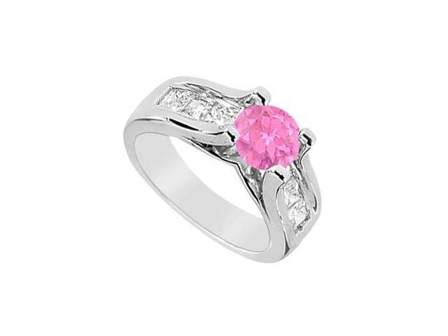 Pink Sapphire and Channel Set Diamond Engagement Ring with 2.25 Carat TGW in 14K White Gold