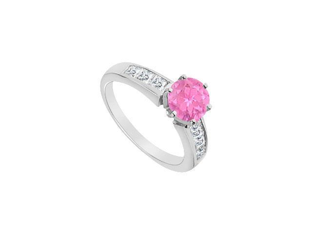 Channel Set Diamond and Pink Sapphire Engagement Ring in 14K White Gold 1.05 Carat TGW