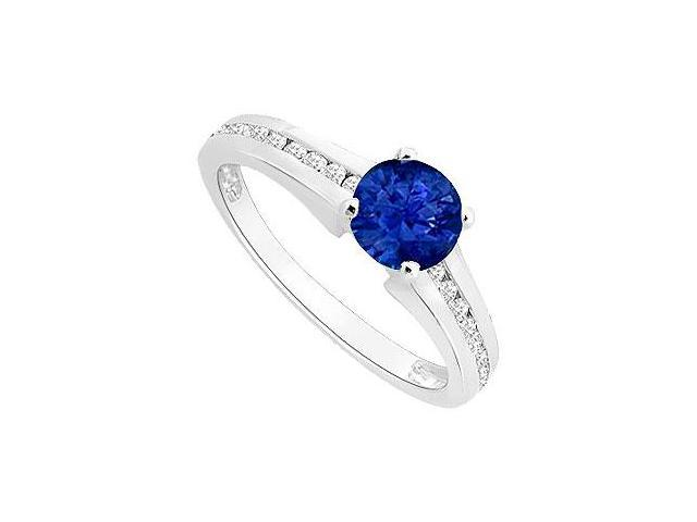 September Birthstone Created Sapphire and CZ Engagement Ring in 14K White Gold 0.50 ct.tgw