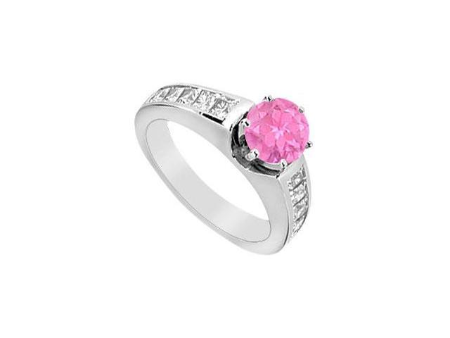 Princess Cut Diamond Engagement Ring with Pink Sapphire in 14K White Gold 1.50 Carat TGW