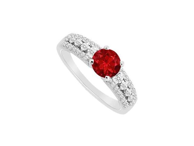 Natural Ruby with Diamond Engagement Ring in 14K White Gold 1.00 Carat TGW