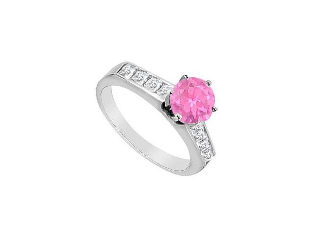 Half Carat Pink Sapphire and Diamond Engagement Ring in 14K White Gold 1.10 Carat TGW