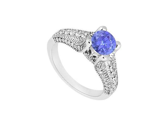 December Birthstone Created Tanzanite Engagement Ring with Milgrain in 14K White Gold 1.00 ct TW