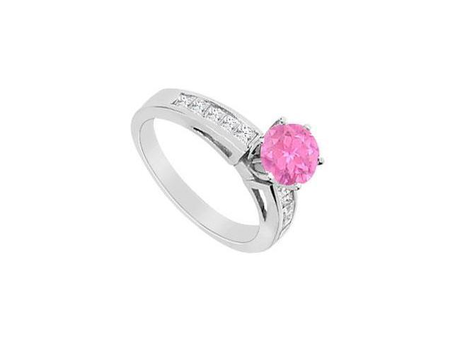 Pink Sapphire and Diamond Princess Cut Engagement Ring in 14K White Gold 1.00 Carat TGW
