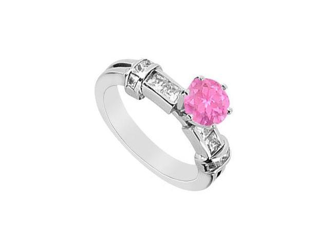 Engagement Ring Pink Sapphire with Princess Cut Diamond in 14K White Gold 1.00 Carat TGW