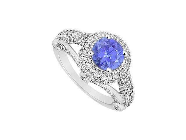 Split Shank December Birthstone Created Tanzanite and CZ Halo Engagement Ring 14K White Gold