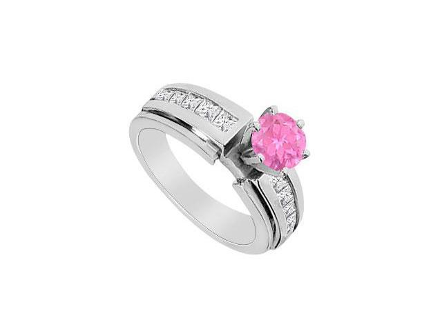 Princess Cut Diamond and Pink Sapphire Engagement Ring 1.25 Carat TGW in 14K White Gold