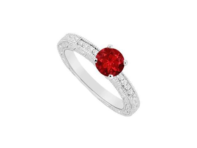 Engagement Ring with Diamond Brilliant Cut and Natural Ruby in 14K White Gold 0.60 Carat TGW