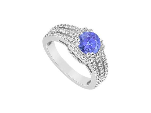 December birthstone Created Tanzanite Three Row Halo Engagement Ring with Split Prong 14K White