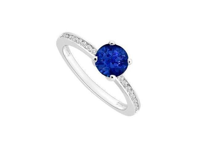 September Birthstone Created Sapphire and CZ Engagement ring in 14K White Gold 0.50 ct TGW