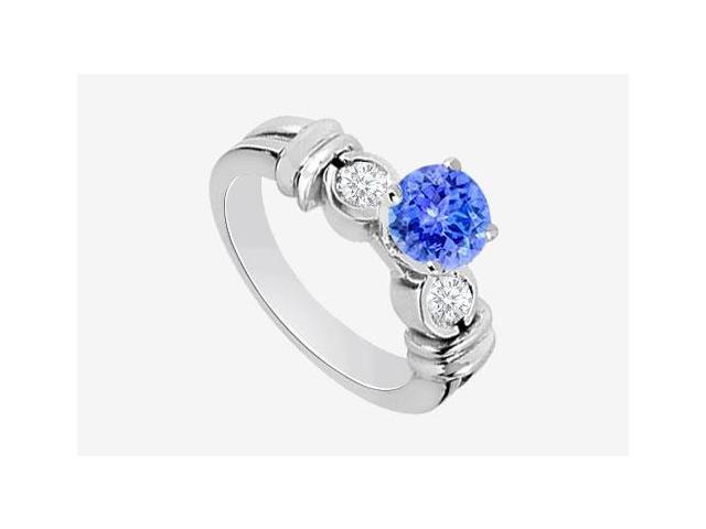 Engagement Ring Diamond and Natural Tanzanite Prong set in 14K White Gold 0.80 Carat TGW