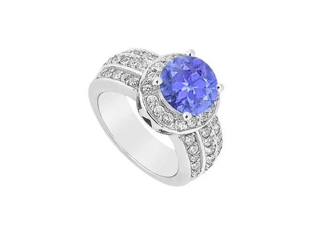 December Birthstone Created Tanzanite Halo Ring with Three Row CZ in 14K White Gold 1.00.ct TGW