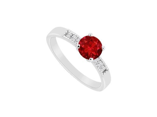 Princess Cut Diamond with Half Carat Natural Ruby Engagement Ring in 14K White Gold 0.60 CT TGW