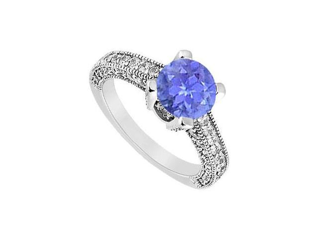 December Birthstone Created Tanzanite  CZ Milgrain Engagement Ring in 14K White Gold1.25 ct.tw