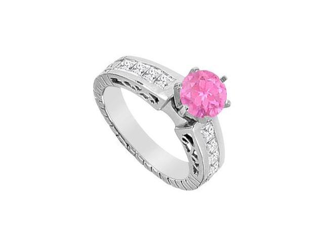 Pink Sapphire and Diamond Princess Cut Engagement Ring in 14K White Gold with 1.40 Carat TGW