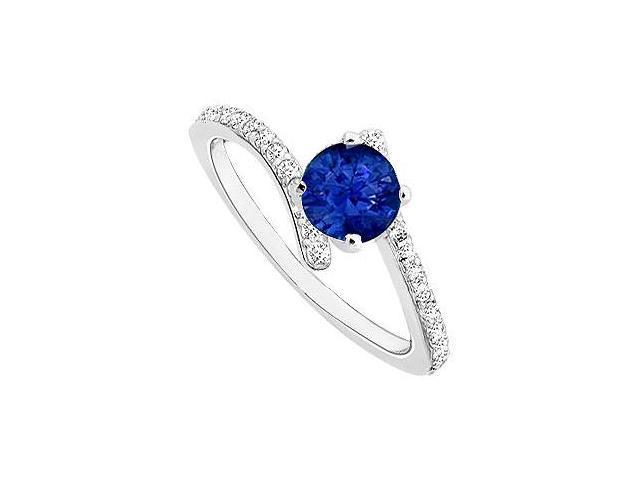 Sapphire and Diamond Engagement Ring  14K White Gold - 0.50 CT TGW
