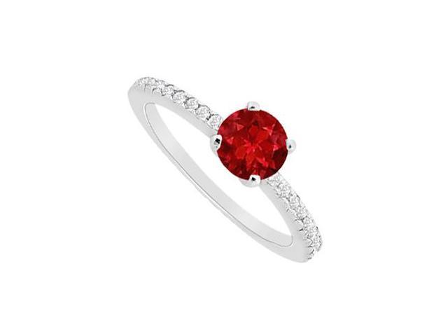 Half Carat Ruby Natural and Diamond Engagement Ring in 14K White Gold 0.75 Carat TGW