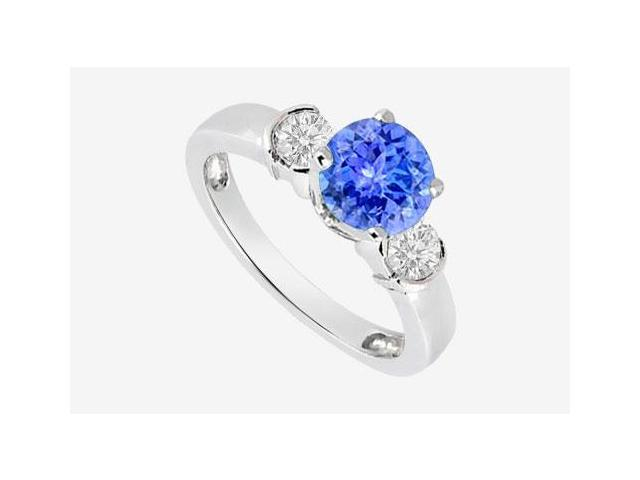 Engagement Ring in 14K White Gold with Diamond and Natural Tanzanite 0.70 Carat TGW