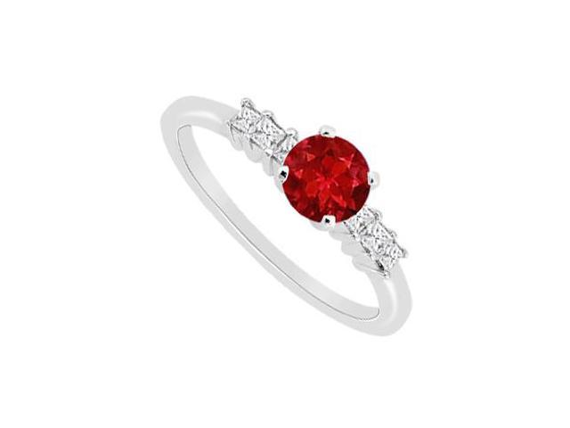 Diamond and Natural Ruby Engagement Ring in 14K White Gold with 0.60 Carat TGW