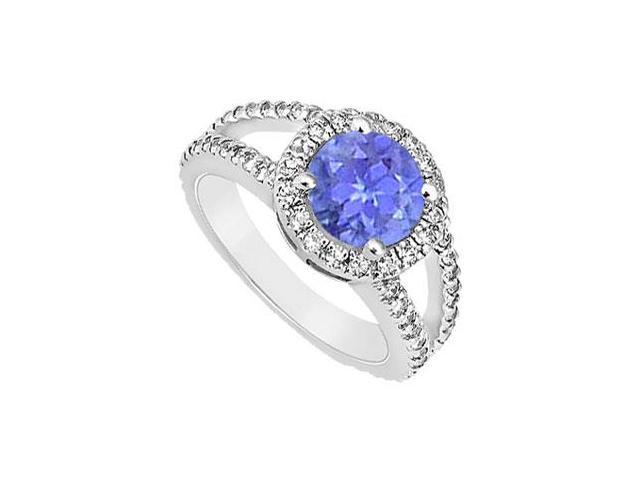 December Birthstone Created Tanzanite and CZ Split Shank Engagement Ring in 14K White Gold