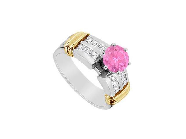 Engagement Ring in 14K White and Yellow Gold with Diamond and Pink Sapphire 1.10 Carat TGW