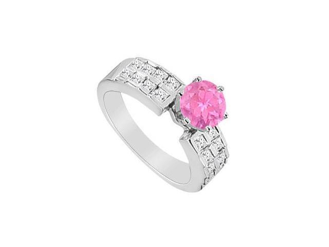 Brilliant Cut Pink Sapphire and Princess Cut Diamond Engagement Ring in 14K White Gold 1.00 Cara