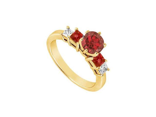 Diamond and Ruby Engagement Ring  14K Yellow Gold - 1.50 CT TGW
