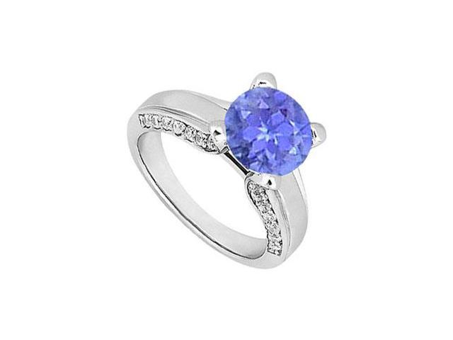 December Birthstone Created Tanzanite and CZ Engagement Ring in 14K White Gold 1.00.ct.tgw